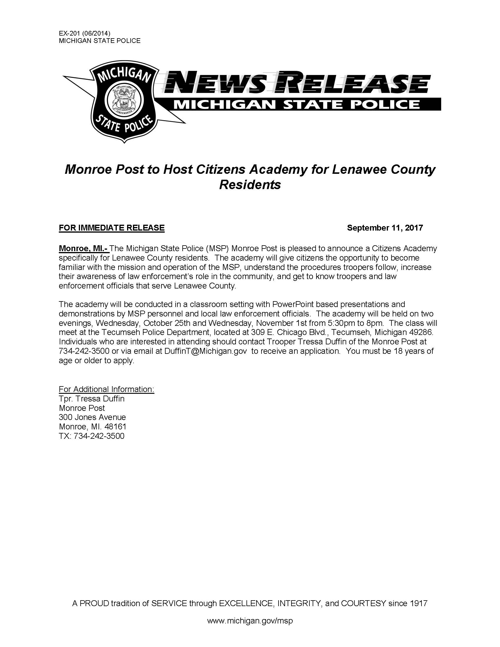 News Release-Lenawee County Citizens Academy