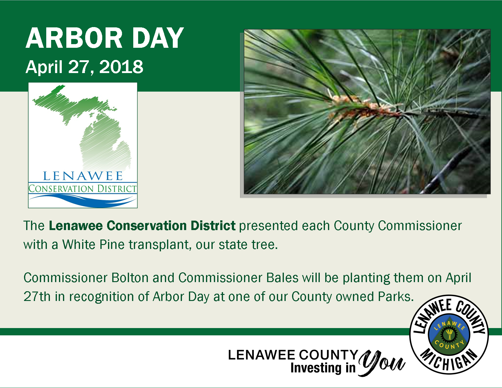 Arbor Day - Thank you Conservation District