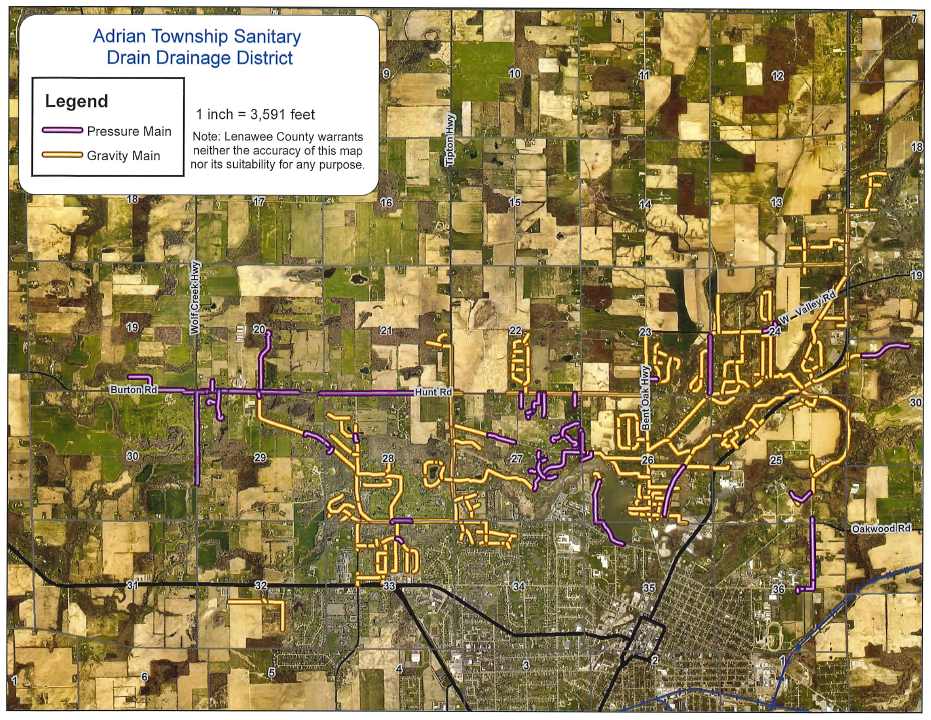Adrian Township Sanitary Drain Map