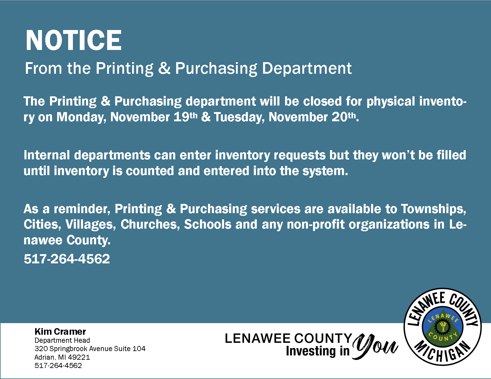 Printing department notice