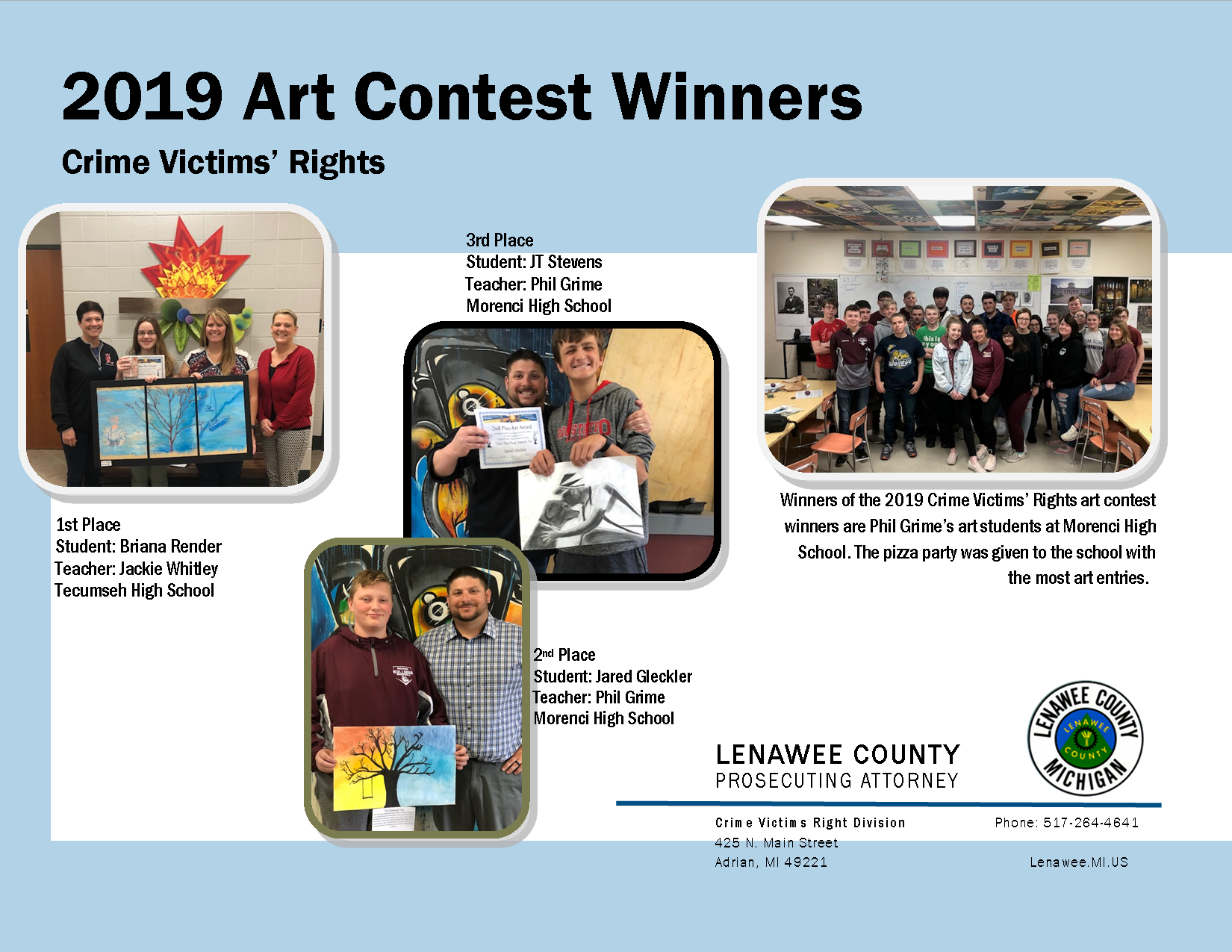 Art contest winners and their work