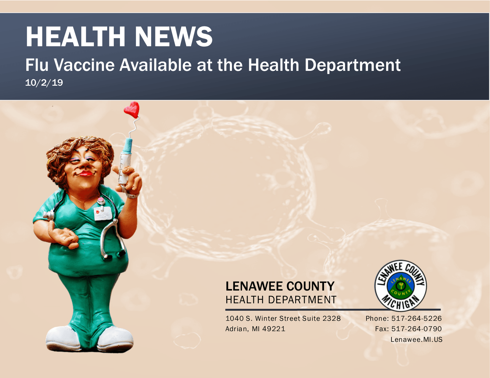 Flu Vaccine Clay figure of nurse holding a syringe with a heart coming out of syringe