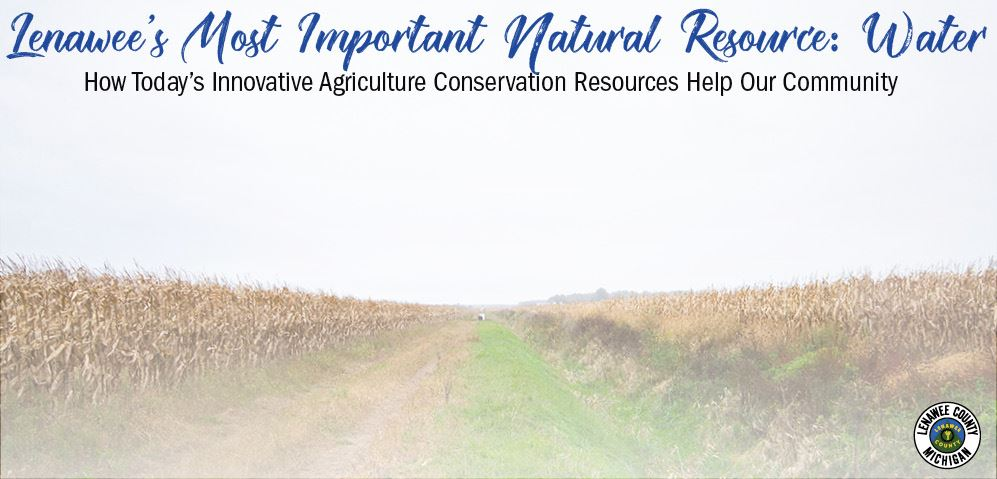 "banner image linking to usda blog - farm image with text that says ""Lenawee's Most Important N"