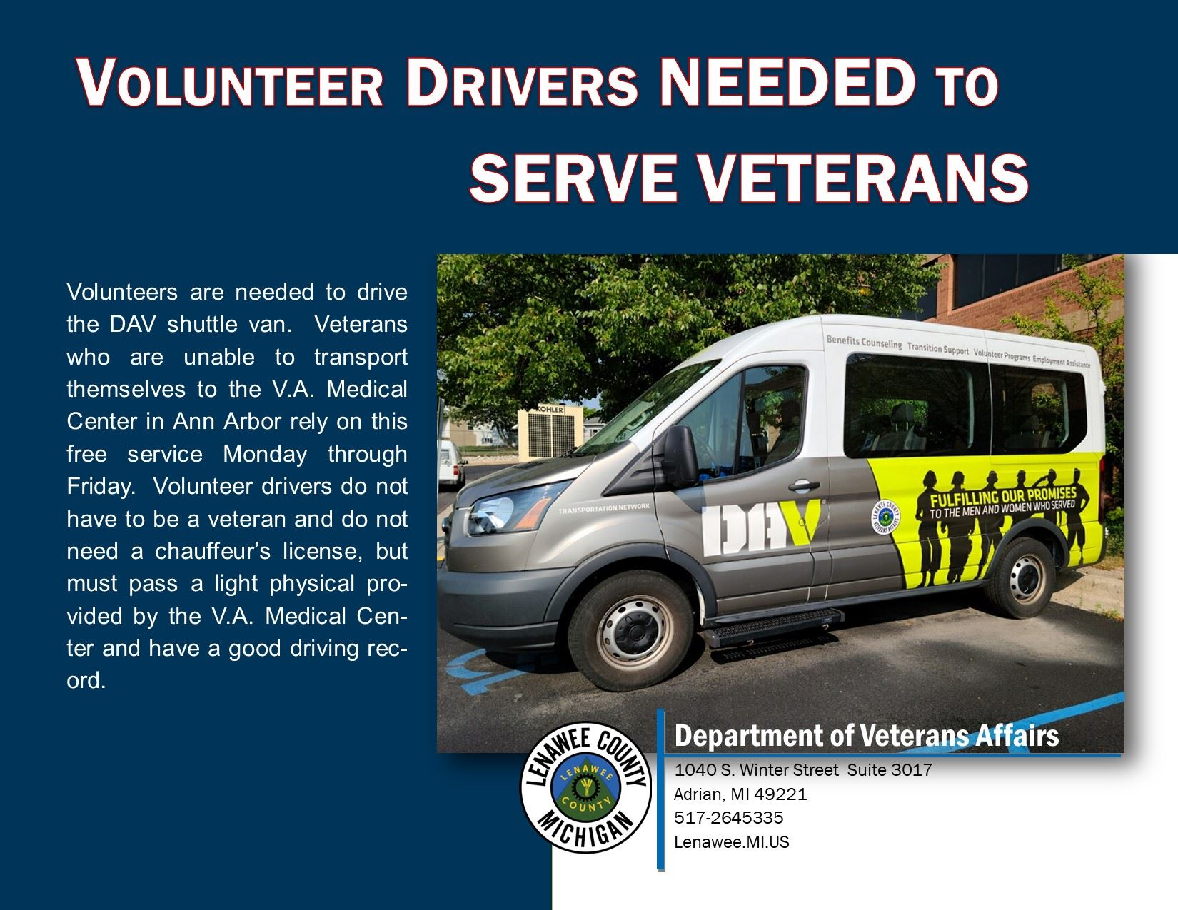 VA Seeking Drivers