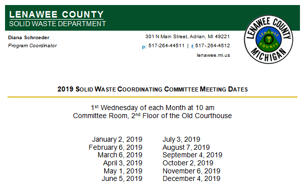 SW MEeting dates