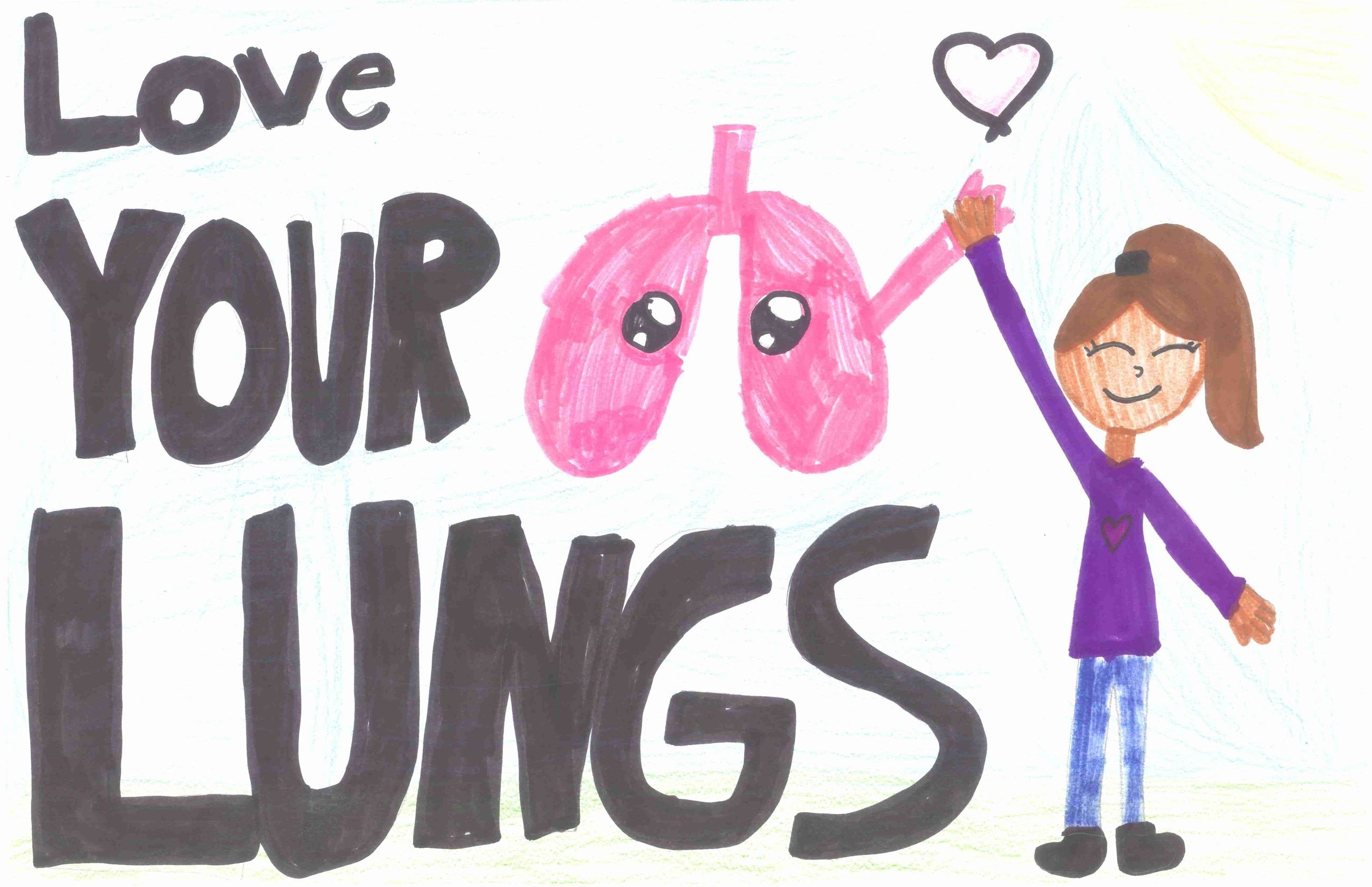 Hand drawn picture of a girl high-fiving a set of lungs