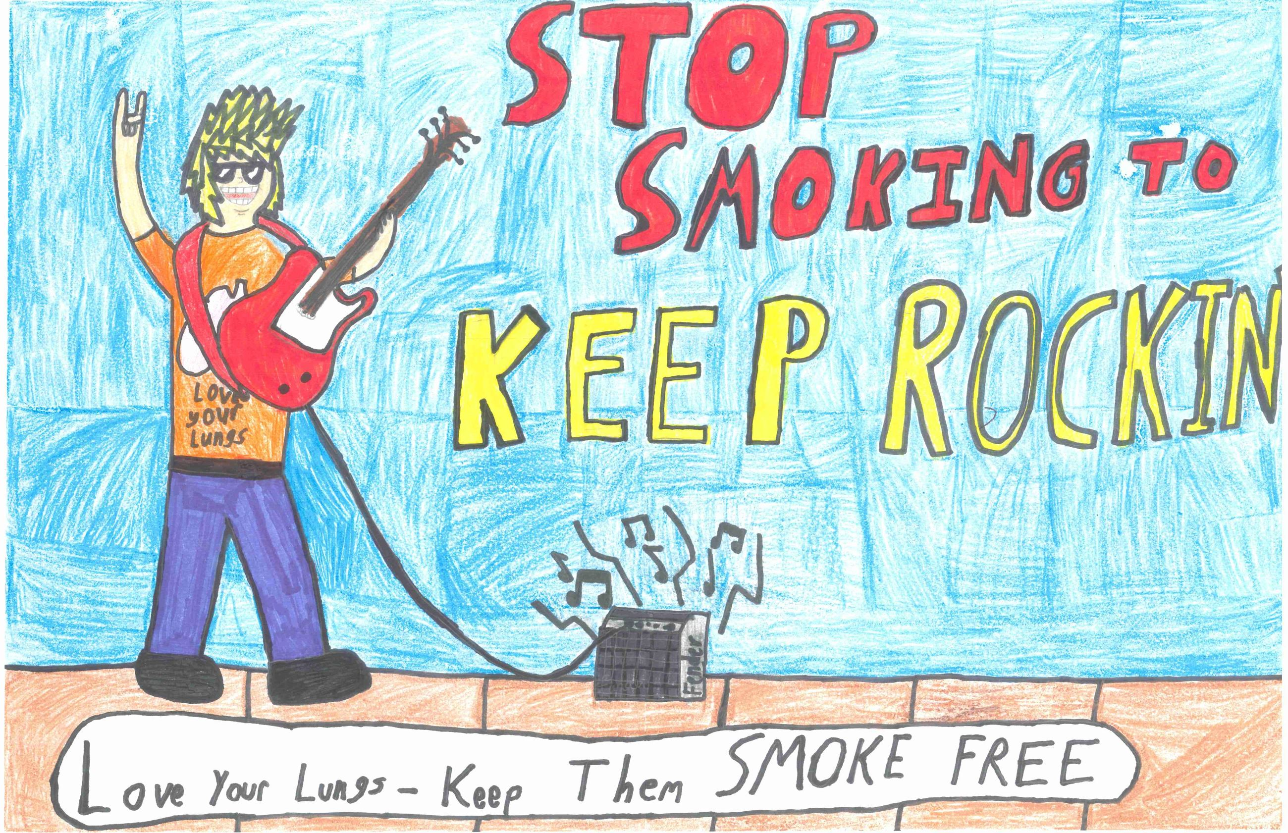 Hand drawn picture of a guitar player: Stop Smoking to Keep Rockin'