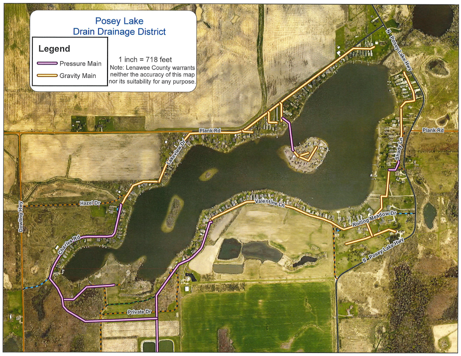 Posey Lake Sanitary Drain  Map