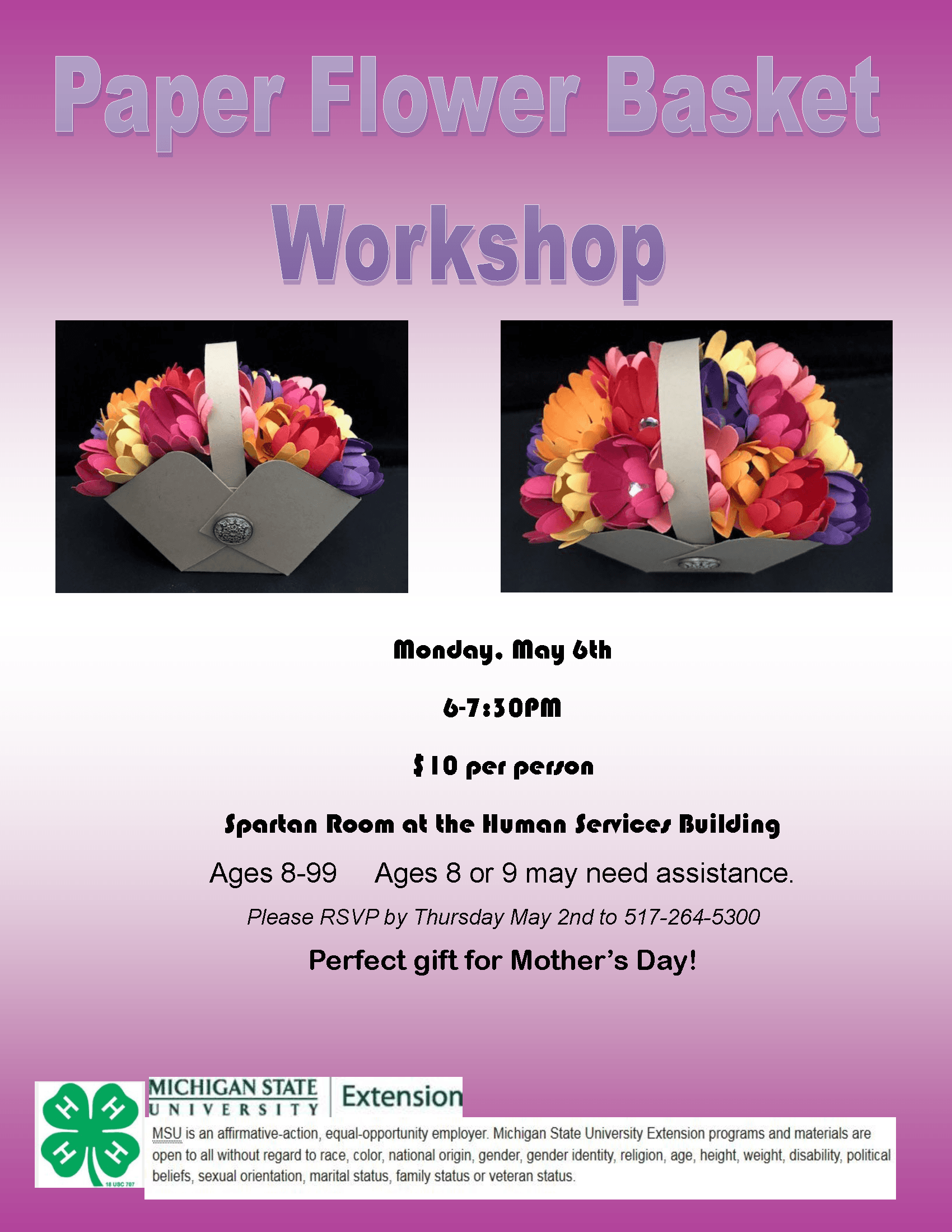 Paper Flower Basket Workshop